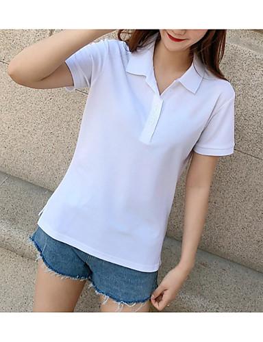abordables Hauts pour Femme-Polo femme en jersey à manches courtes et col chemise