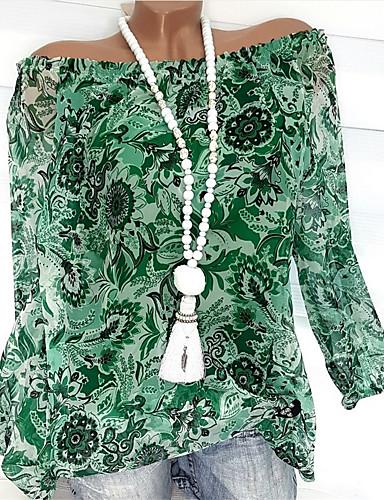billige Topper til damer-Bomull Løstsittende Løse skuldre Store størrelser Skjorte Dame - Blomstret, Trykt mønster Elegant Oransje