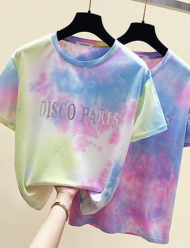 billige Dametopper-T-skjorte Dame - Ensfarget / Fargeblokk / Batikkfarget, Trykt mønster Grunnleggende / Gatemote Gul