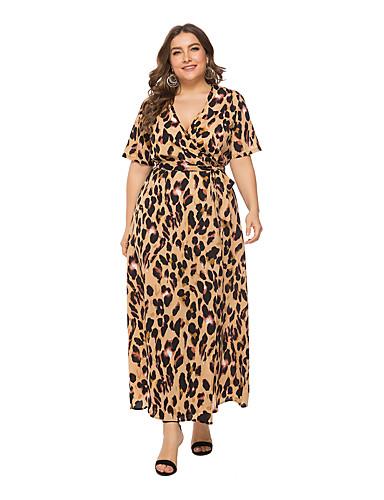 voordelige Grote maten jurken-Dames A-lijn Jurk - Luipaard, Print wrap Maxi