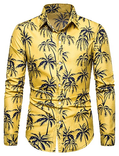 cheap Men's Shirts-Men's Daily Casual Vintage / Street chic Shirt - Floral / Geometric / Graphic Print Yellow US38 / UK38 / EU46