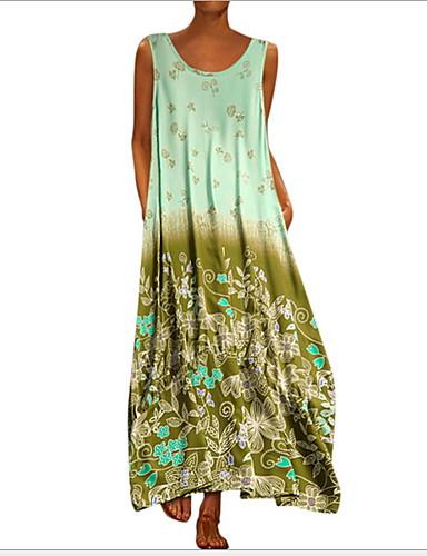 hesapli Kadın Elbiseleri-Kadın's Çan Gömlek Elbise - Çiçekli Maksi