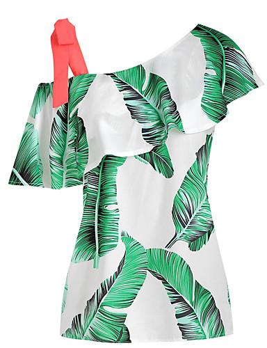 billige Topper til damer-Tynn Enskuldret Skjorte Dame - Blomstret, Lapper / Trykt mønster Gatemote Grønn