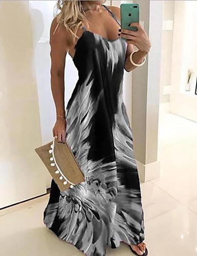 voordelige Maxi-jurken-Dames Slank Schede Jurk - Geometrisch Bandje Maxi