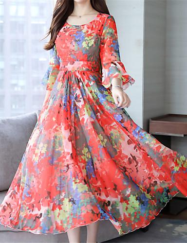 abordables Robes Femme-Femme Elégant Maxi Balançoire Robe Fleur Marguerite Rose Claire Rouge Vert S M L Demi Manches