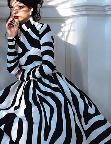 billige Kjoler-Dame Gatemote Elegant Skjede Swing Kjole - Stripet, Lapper Maksi Svart og hvit