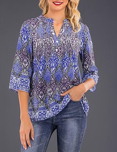 billige Dametopper-V-hals Skjorte Dame - Geometrisk, Trykt mønster Marineblå