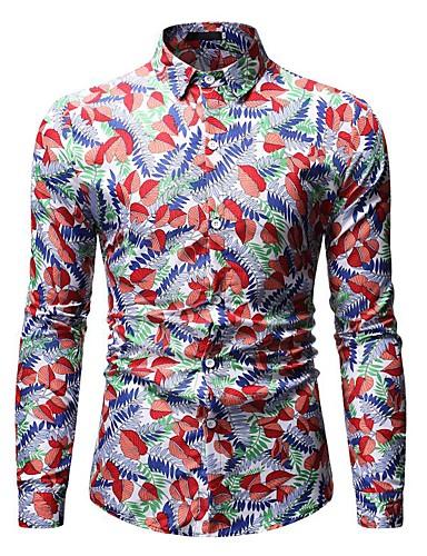 Erkek Gömlek Desen, Çiçekli / Geometrik / Grafik Vintage / Sokak Şıklığı YAKUT