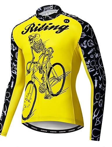 hesapli Bisiklet Formaları-WEIMOSTAR Yenilik Kuru Kafalar İskelet Erkek Uzun Kollu Bisiklet Forması - Sarı Bisiklet Forma Üstler Uv dayanıklı Nefes Alabilir Nem Emici Spor Dalları Polyester Elastane Terylene Dağ Bisikletçiliği