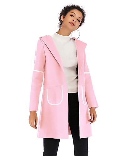 billige Ytterklær til damer-Dame Daglig Grunnleggende Lang Trenchcoat, Fargeblokk Med hette Langermet Polyester Svart / Fuksia / Brun M / L / XL