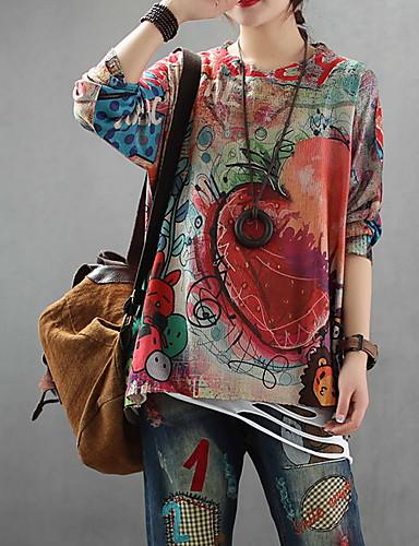 abordables Hauts pour Femmes-Femme Géométrique Manches Longues Pullover, Col Arrondi Rouge Taille unique