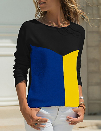 billige Topper til damer-T-skjorte Dame - Fargeblokk Grunnleggende Svart