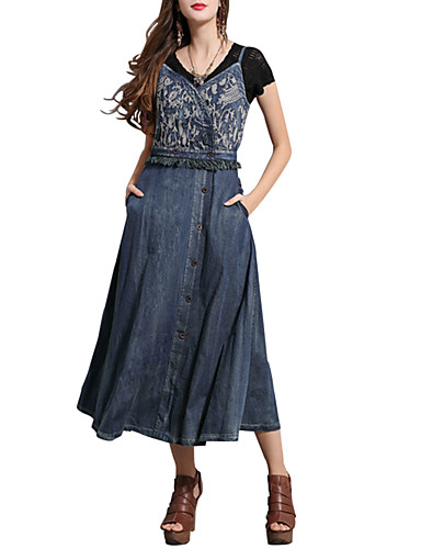 Kadın's A Şekilli Elbise - Solid Midi