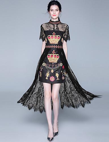 Kadın's sofistike Zarif A Şekilli Elbise - Soyut, Dantel Şalter Kırk Yama Midi