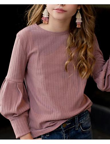 povoljno Pretprodaja-Djeca Djevojčice Aktivan Jednobojni Dugih rukava Majica s kratkim rukavima Blushing Pink