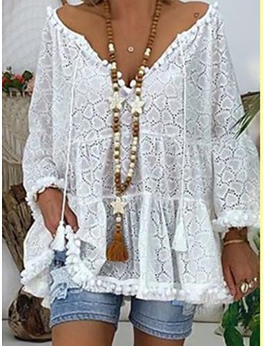 billige Dametopper-Skjorte Dame - Ensfarget, Broderi Bohem Hvit