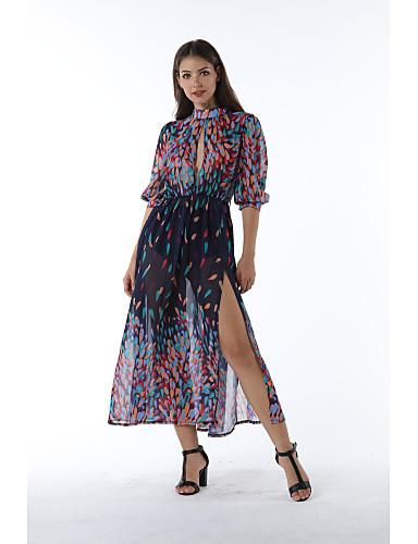 abordables Robes Femme-Femme Bohème Asymétrique Mousseline de Soie Robe - Lacet, Géométrique Arc-en-ciel S M L Demi Manches