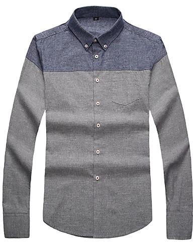 voordelige Herenoverhemden-Heren Zakelijk / Standaard Print Overhemd Effen / Kleurenblok Wit Licht Blauw