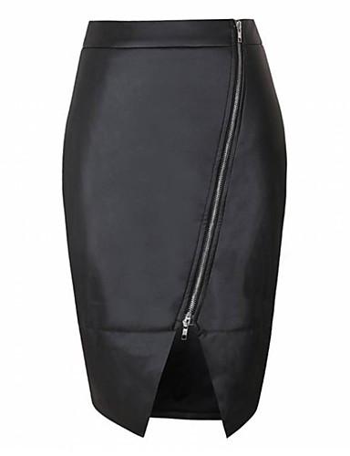 abordables Jupes-Femme Chic de Rue Crochet Jupes - Couleur Pleine Noir S M L
