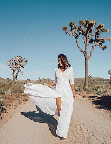 Недорогие Платья-Жен. Элегантный стиль Оболочка Платье - Однотонный, Пэчворк Макси