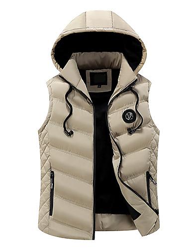 voordelige Heren donsjassen & parka's-Heren Effen Normaal Vest, Polyester Zwart / Wijn / blauw US38 / UK38 / EU46 / US40 / UK40 / EU48 / US42 / UK42 / EU50