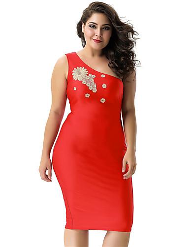 voordelige Grote maten jurken-Dames Street chic Verfijnd Bodycon Jurk - Effen Bloemen, Blote rug Geborduurd Tot de knie