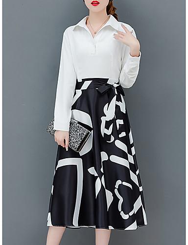abordables Robes Femme-Femme Sophistiqué Elégant Midi Trapèze Gaine Robe - Lacet, Géométrique Noir & Blanc Noir Blanche S M L Manches Longues