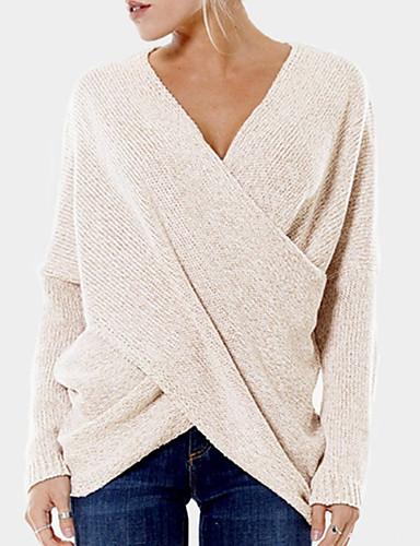 povoljno Ženske majice-Žene Jednobojni Dugih rukava Pullover, V izrez Crn / Djetelina / Bež S / M / L