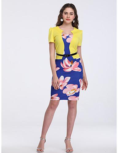 baratos Vestidos de Mulher-Mulheres Elegante Evasê Vestido - Patchwork, Floral Altura dos Joelhos