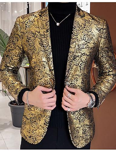 Erkek Blazer Çentik Yaka Pamuklu / Polyester Siyah / Altın US32 / UK32 / EU40 / US34 / UK34 / EU42 / US38 / UK38 / EU46
