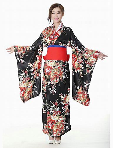 billige Etniske og kulturelle Kostymer-Geisha Voksne Dame Kimonoer Kjoler Drakter Japansk Kimono Til Fest Halloween Cosplay Kostumer Imitasjon Silke Halloween Karneval Maskerade Kjole Sløyfe Belte / bånd