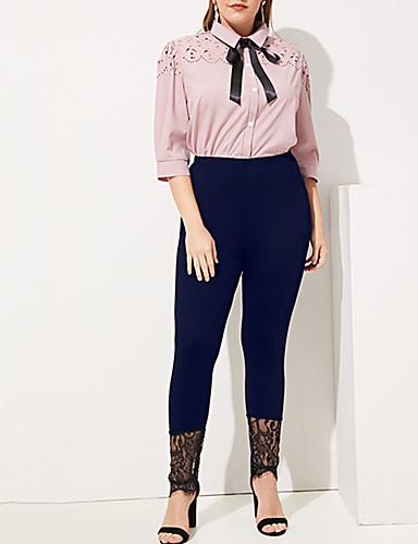 abordables Pantalons Femme-Femme Chic de Rue Grandes Tailles Chino Pantalon - Couleur Pleine Mosaïque Taille haute Bleu Marine XL XXL XXXL