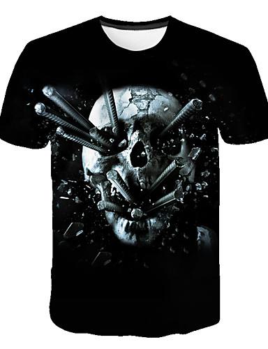 Erkek Tişört Desen, Zıt Renkli / 3D / Kuru Kafalar Sokak Şıklığı / Abartılı Siyah