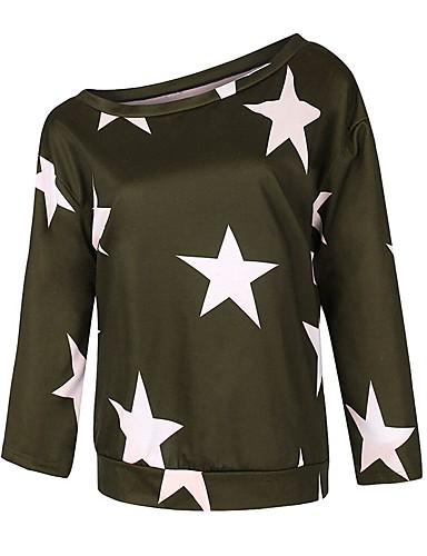 billige Topper til damer-T-skjorte Dame - Geometrisk, Lapper Gatemote BLå & Hvit / Svart og hvit Svart