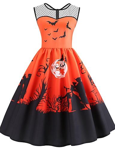 abordables Robes Femme-Femme Rétro Vintage Mi-long Trapèze Robe - Maille Mosaïque Imprimé, Animal Orange S M L Sans Manches