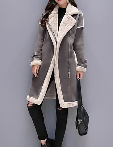 preiswerte Damen Überbekleidung-Damen Alltag Herbst Winter Lang Kunstpelz-Mantel, Einfarbig Gekerbtes Revers Langarm Polyester Schwarz / Kamel / Grau