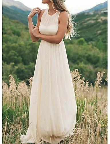 abordables Robes de Mariée 2019-Trapèze Bijoux Traîne Brosse Mousseline de soie Robes de mariée sur mesure avec Drapée par LAN TING Express