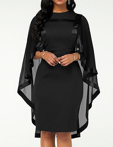 hesapli Kadın Elbiseleri-Kadın's Büyük Bedenler Kılıf Elbise - Solid Bisiklet Yaka Diz-boyu