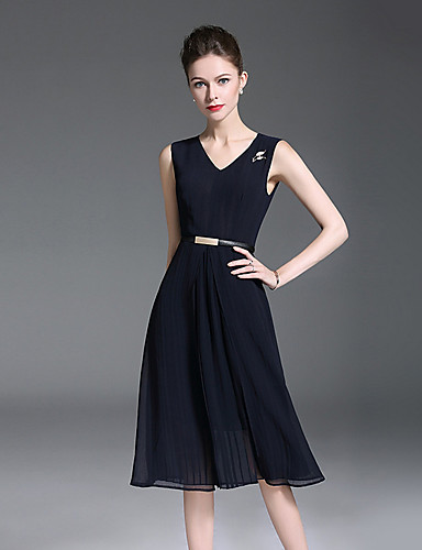 voordelige Korte jurken-A-lijn V-hals Tot de knie Polyester Bruidsmoederjurken met Sjerp / Lint door LAN TING Express