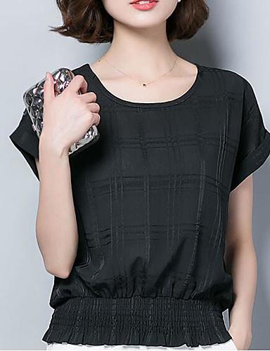 abordables Hauts pour Femmes-Tee-shirt Femme, Couleur Pleine Plissé Business / Basique Noir