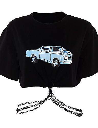 povoljno Ženske majice-Majica s rukavima Žene - Osnovni Dnevno Jednobojni Kolaž Crna Crn