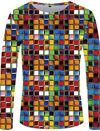 voordelige Heren T-shirts & tanktops-Heren Street chic / overdreven Geplooid / Print Grote maten - Tuniek Polka dot / Geometrisch / 3D Ronde hals Zwart & Wit Regenboog / Lange mouw