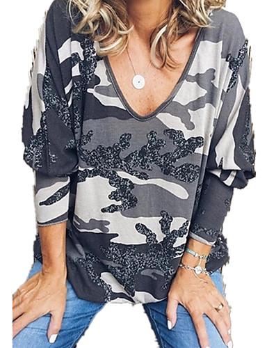 abordables Hauts pour Femmes-Tee-shirt Femme, camouflage Mosaïque / Imprimé Basique Violet