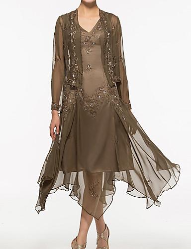voordelige Wrap Dresses-A-lijn / Tweedelig V-hals Asymmetrisch Chiffon / Kant Bruidsmoederjurken met Kralen / Appliqués door LAN TING Express / Wrap inbegrepen