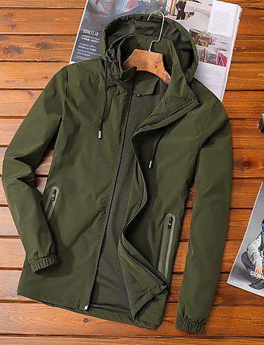Erkek Günlük / Spor Temel İlkbahar & Kış / Sonbahar Kış Normal Ceketler, Solid Kapşonlu / Dik Yaka Uzun Kollu Polyester Örümcek Ağı Siyah / Ordu Yeşili / Koyu Gri US32 / UK32 / EU40 / US34 / UK34