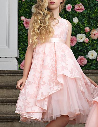 Djeca Djevojčice slatko Jednobojni Bez rukávů Do koljena Haljina Blushing Pink / Pamuk