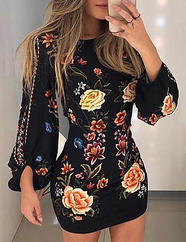 abordables Robes Femme-Femme Mini Moulante Robe - Imprimé, Fleur Noir S M L Manches Longues