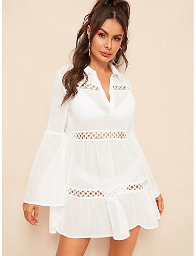 abordables Hauts pour Femme-Tunique Femme, Couleur Pleine Mosaïque Elégant Noir & Blanc Blanche
