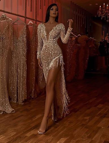 povoljno Haljine za NG-Žene Elegantno Korice Haljina - Rese S izrezom, Jednobojni Asimetričan