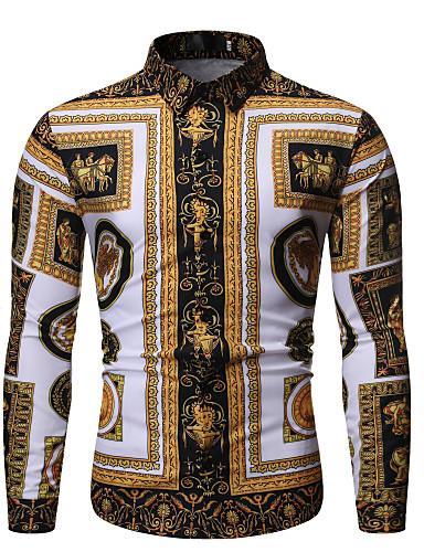 billige Herrer's Moteklær-Skjorte Herre - Geometrisk Grunnleggende Svart